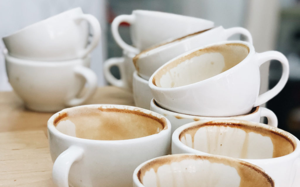 kitchen dirty coffee cups