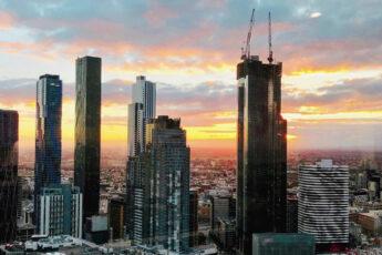 melbourne cityscape sunset