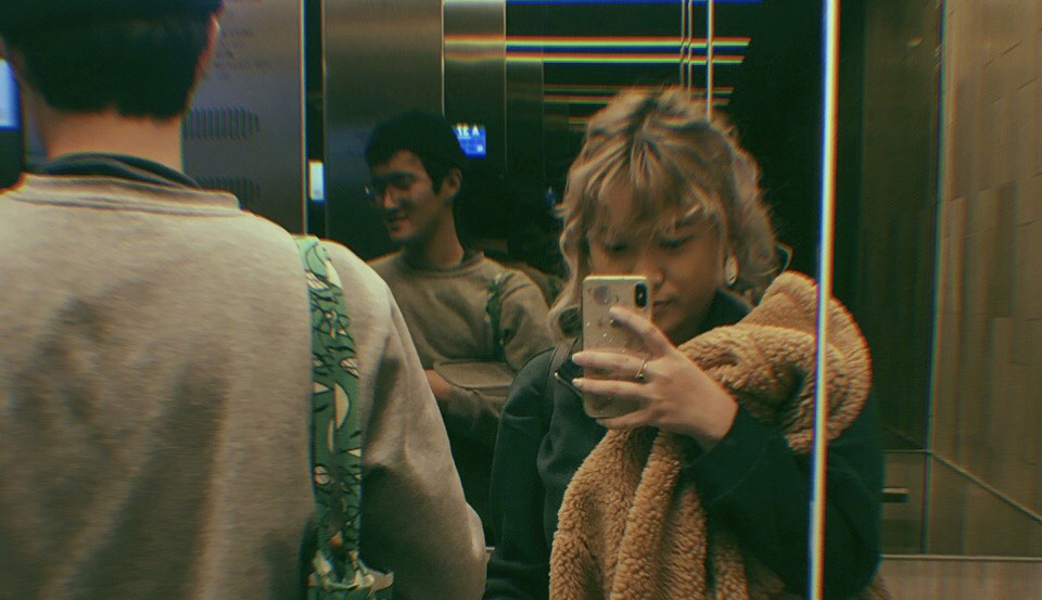 friends in elevator