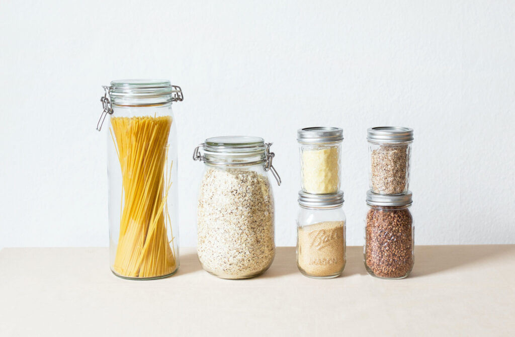 pantry items stored in mason jars