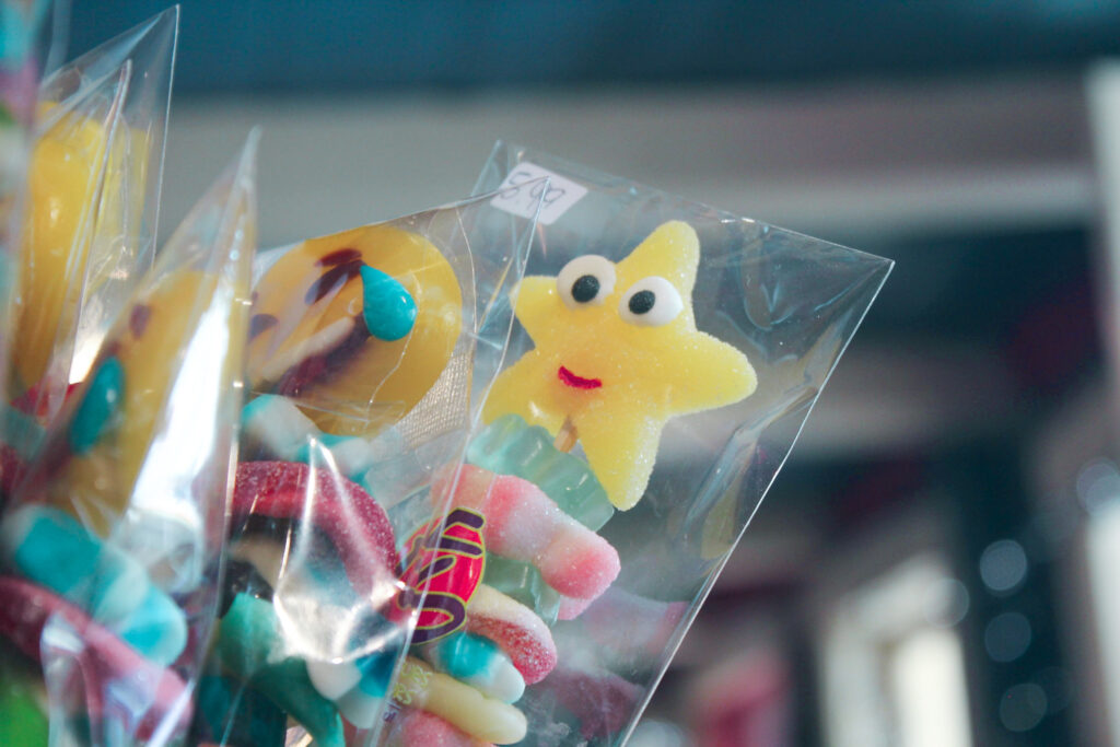 candy in cellulose bags